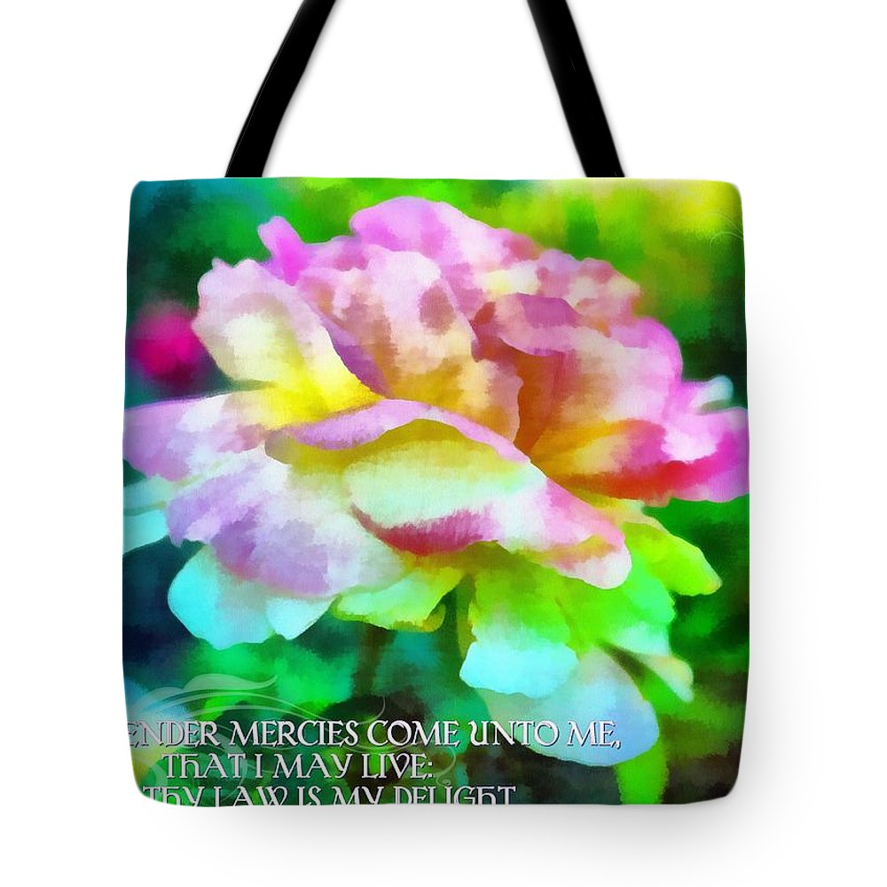 Jesus Tote Bag featuring the digital art Psalm 119 77 by Michelle Greene Wheeler