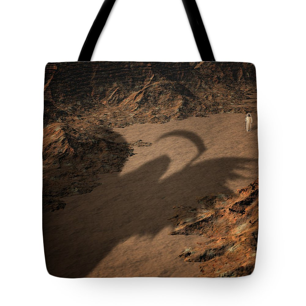 Valley Tote Bag featuring the digital art Psalm by Carol and Mike Werner