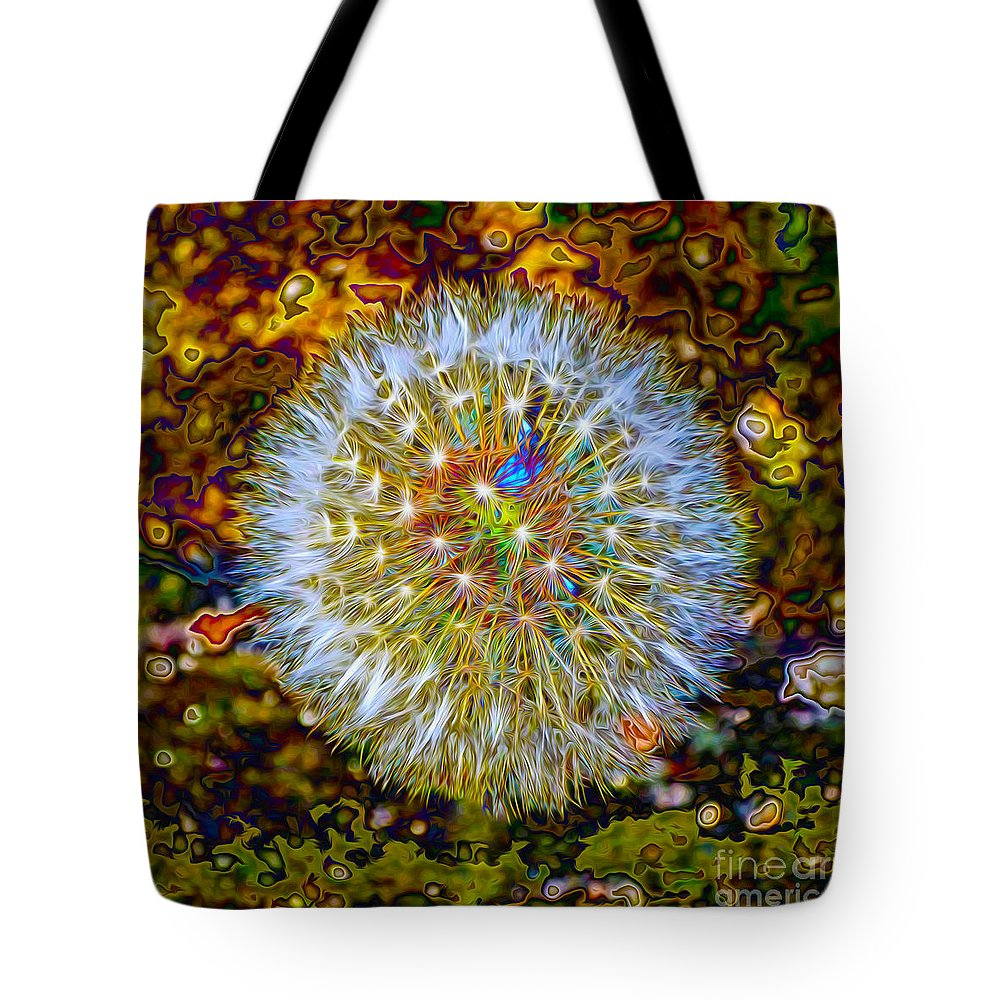 Dandelion Tote Bag featuring the digital art Psychedelic Dandelion by P Donovan