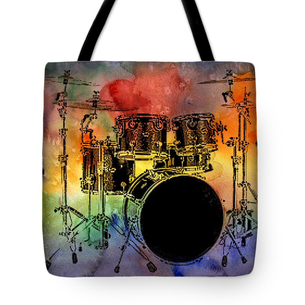 Drums Tote Bag featuring the photograph Psychedelic Drum Set by Athena Mckinzie