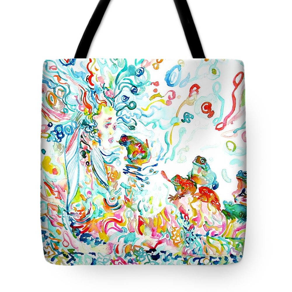 Goddess Tote Bag featuring the painting Psychedelic Goddess With Toads by Fabrizio Cassetta