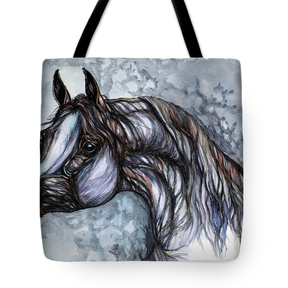 Horse Tote Bag featuring the painting Psychedelic Grey And Blue by Angel Ciesniarska