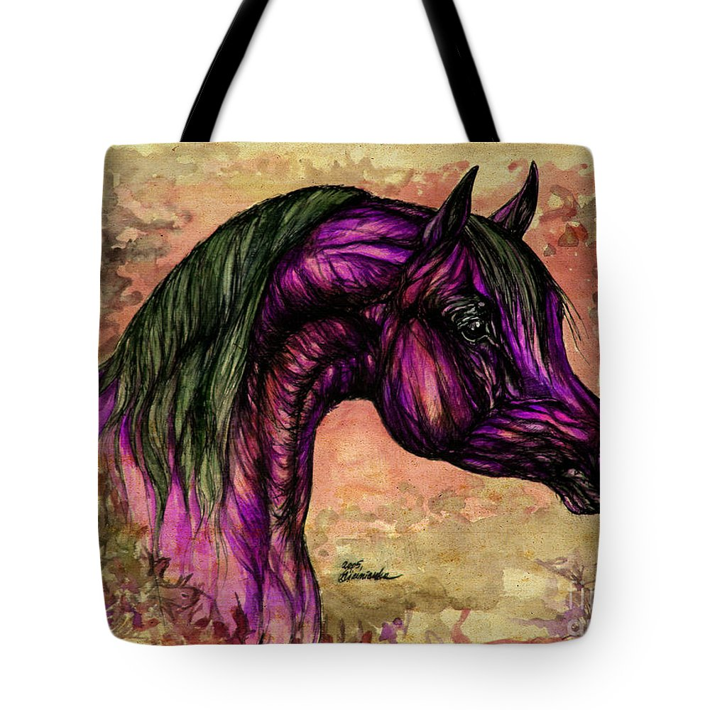 Horse Tote Bag featuring the painting Psychedelic Purple by Angel Ciesniarska