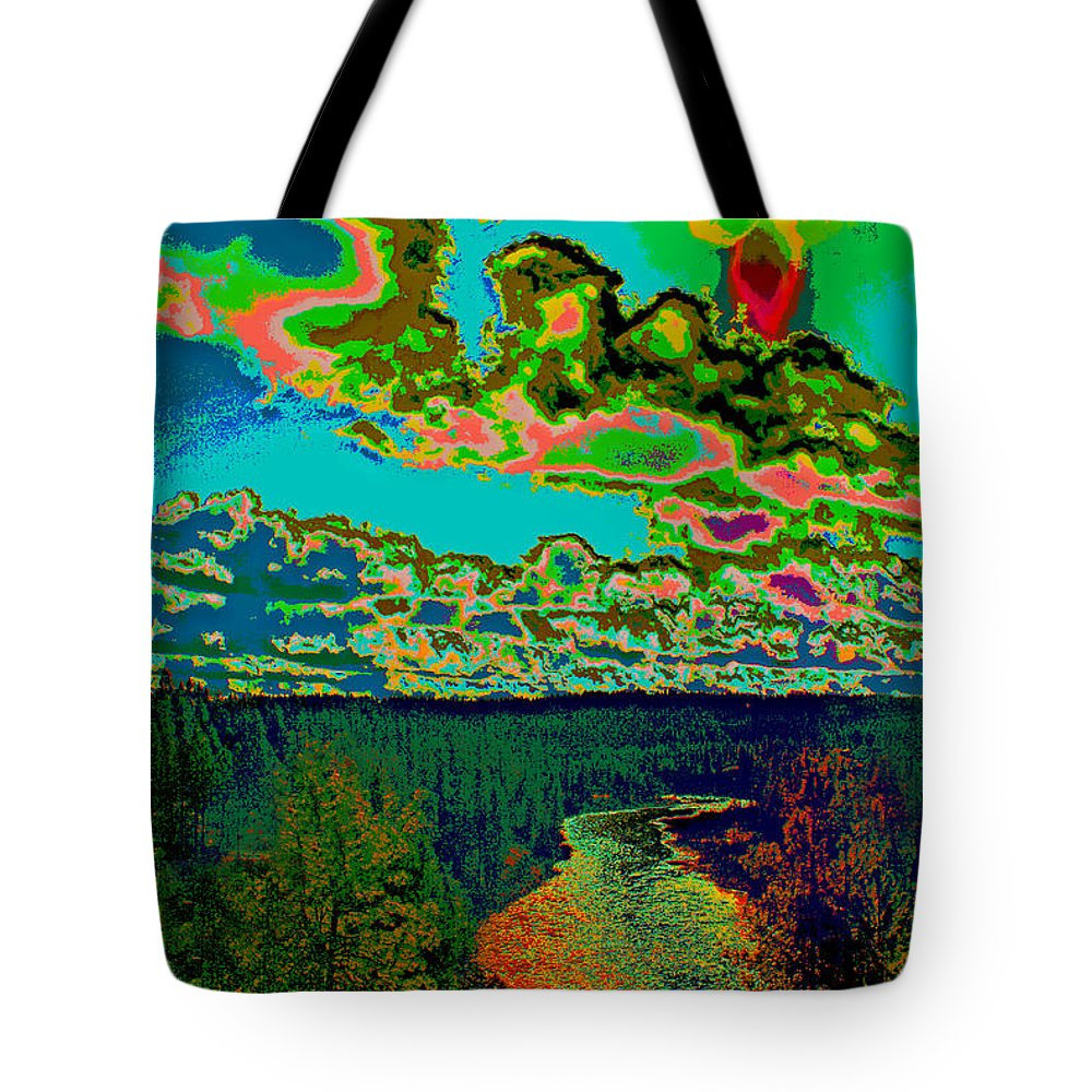 Spokane River Tote Bag featuring the photograph Psychedelic Skyline Over Spokane River #1 by Ben Upham III
