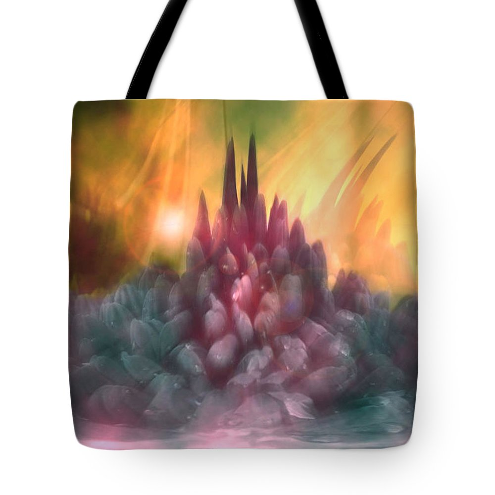 Abstract Tote Bag featuring the digital art Psychedelic Tendencies  by Linda Sannuti