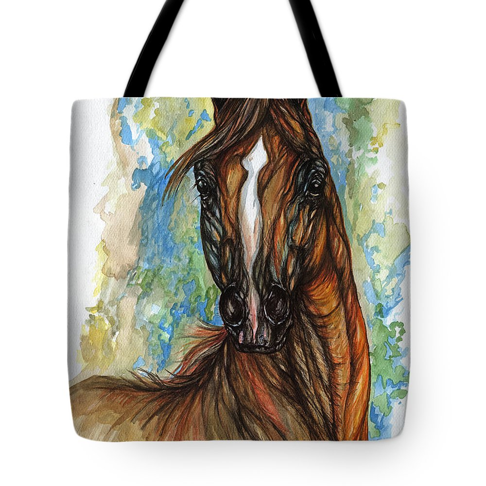 Psychodelic Tote Bag featuring the painting Psychodelic Chestnut Horse Original Painting by Angel Ciesniarska