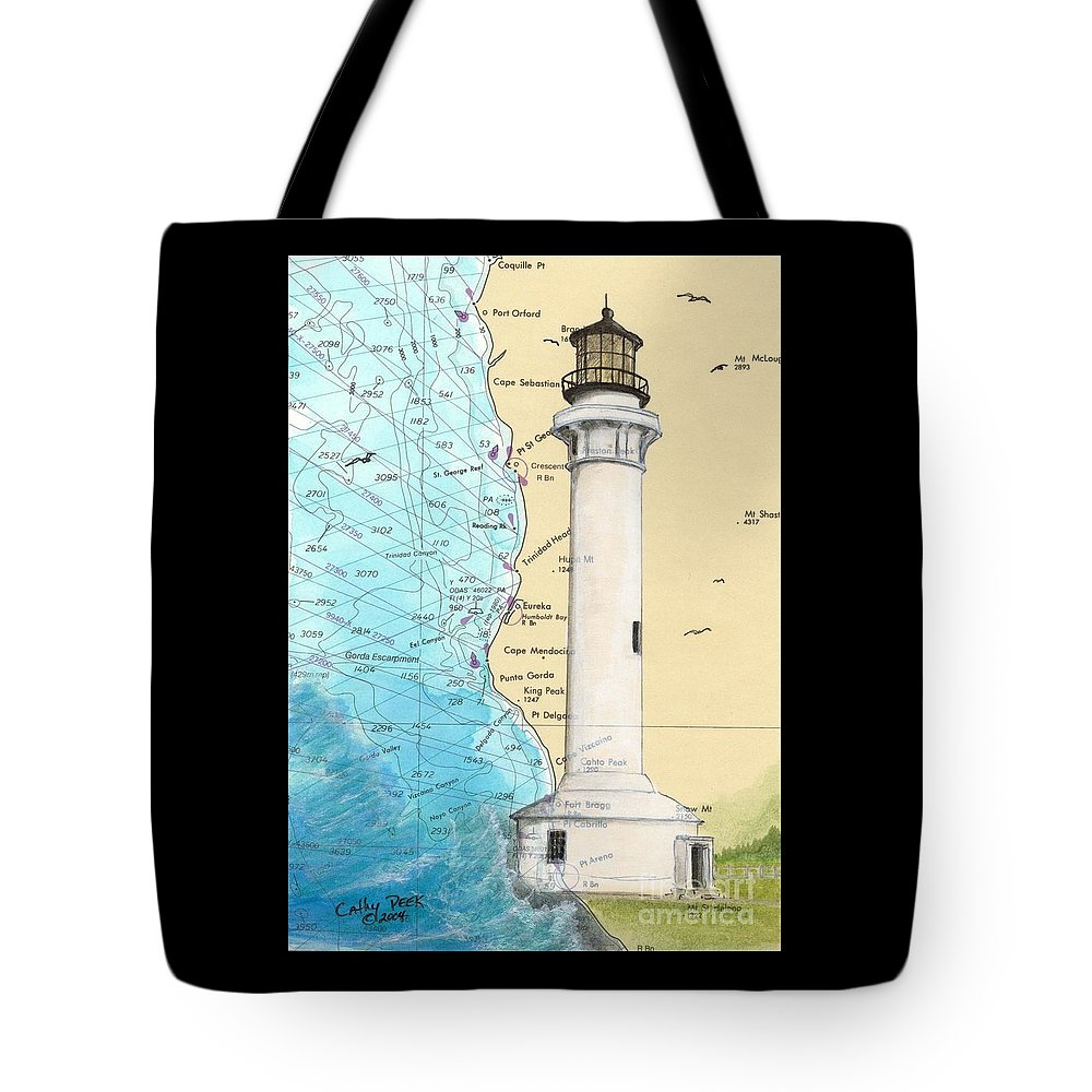 Point Tote Bag featuring the painting Pt Arena Lighthouse Ca Nautical Chart Map Art Cathy Peek by Cathy Peek