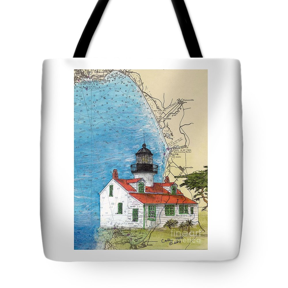 Point Tote Bag featuring the painting Pt Pinos Lighthouse Ca Nautical Chart Map Art Cathy Peek by Cathy Peek