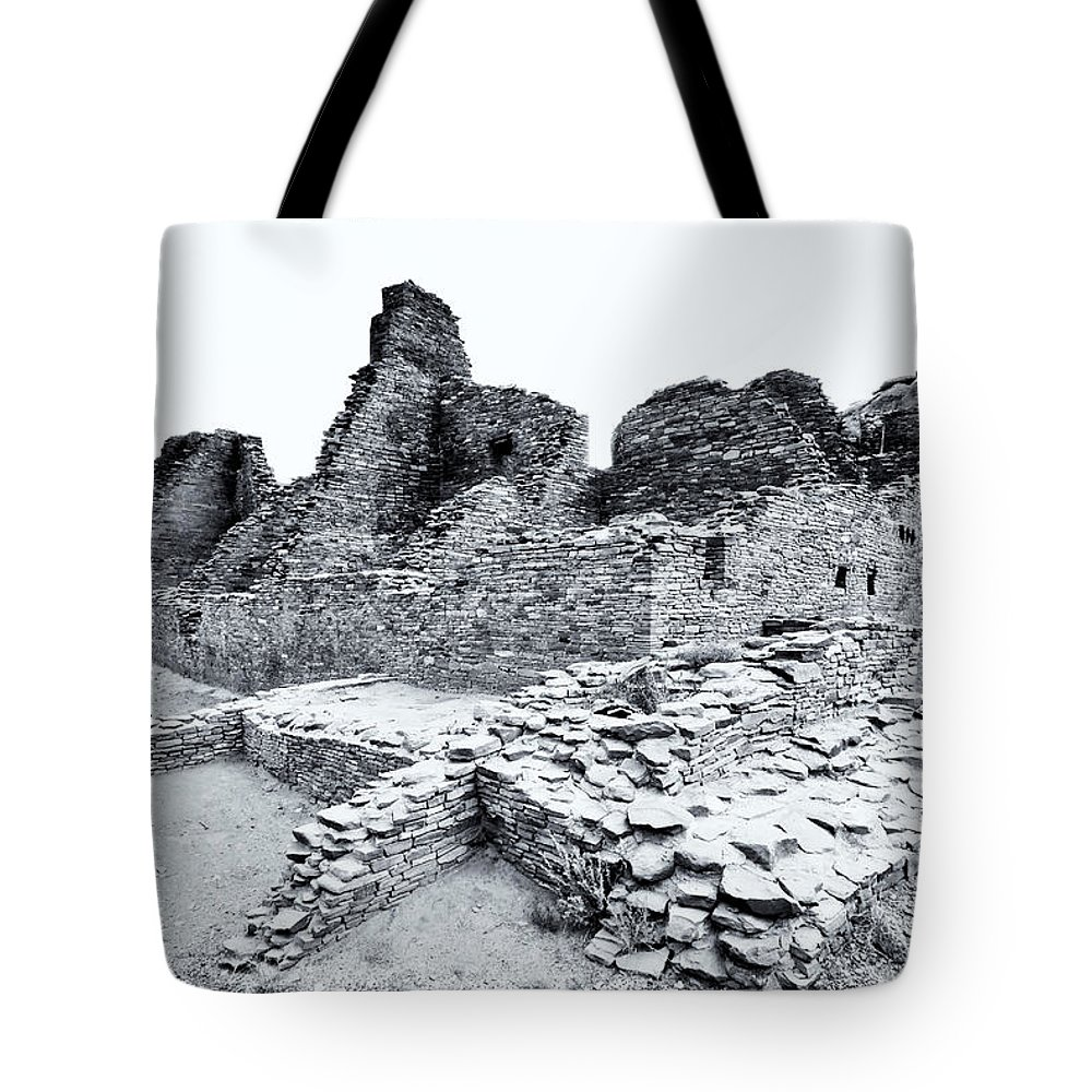 Sherry Day Tote Bag featuring the photograph Pueblo Bonito In Black by Ghostwinds Photography