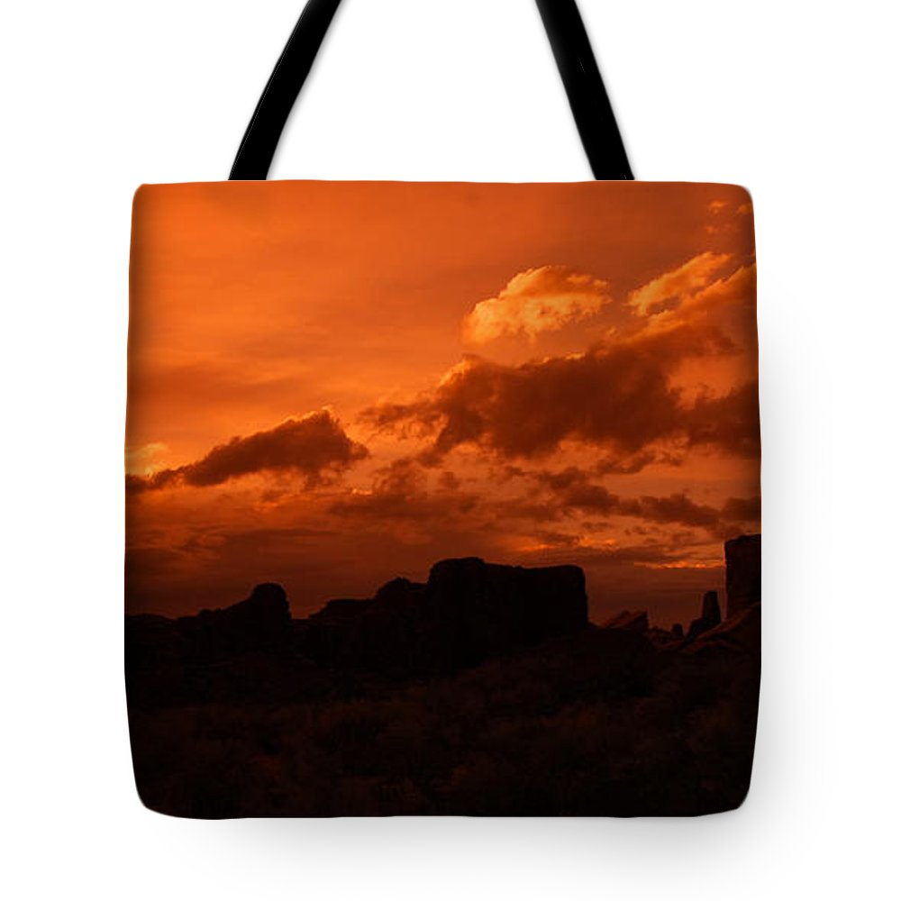 Sherry Day Tote Bag featuring the photograph Pueblo Bonito In Orange by Ghostwinds Photography