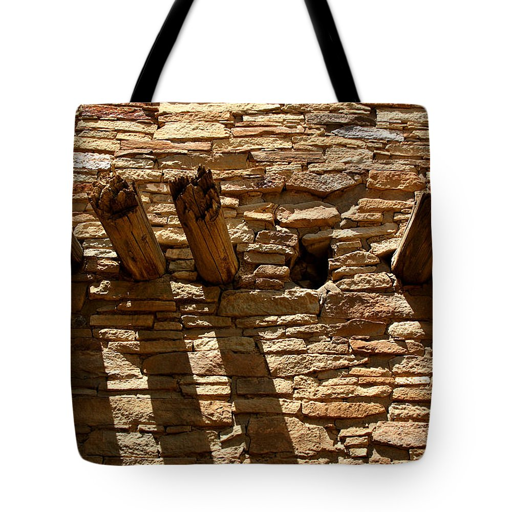 Architecture Tote Bag featuring the photograph Pueblo Bonito Wall by Joe Kozlowski
