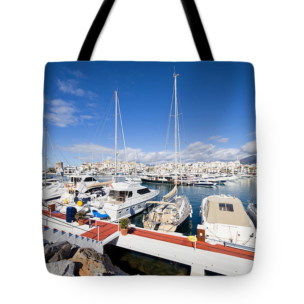 Andalusia Tote Bag featuring the photograph Puerto Banus Marina In Spain by Artur Bogacki