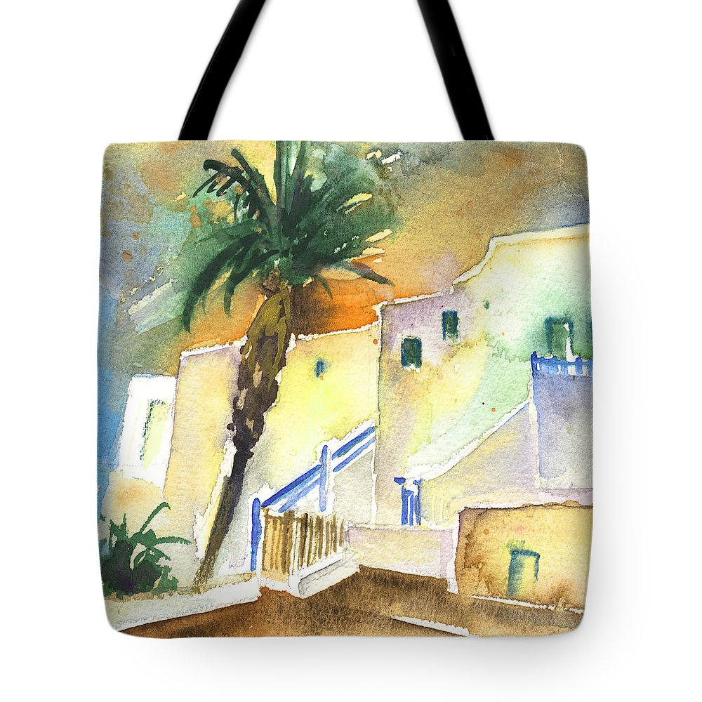 Travel Tote Bag featuring the painting Puerto Carmen Sunset In Lanzarote 03 by Miki De Goodaboom