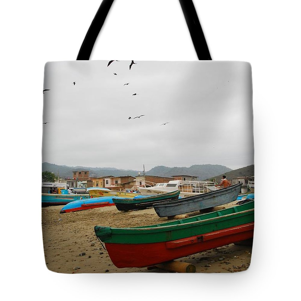 Beach Tote Bag featuring the photograph Puerto Lopez Beach And Boats by Cascade Colors