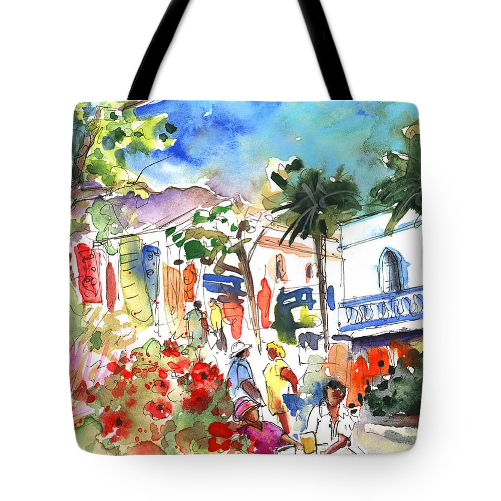 Travel Tote Bag featuring the painting Puerto Mogan 10 by Miki De Goodaboom