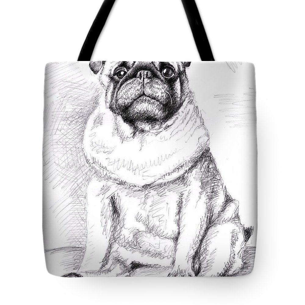 Dog Tote Bag featuring the drawing Pug Anton by Nicole Zeug