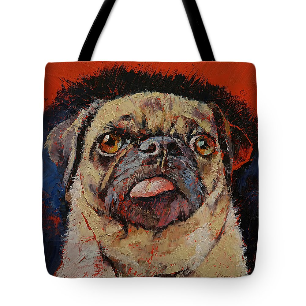 Dog Tote Bag featuring the painting Pug Portrait by Michael Creese