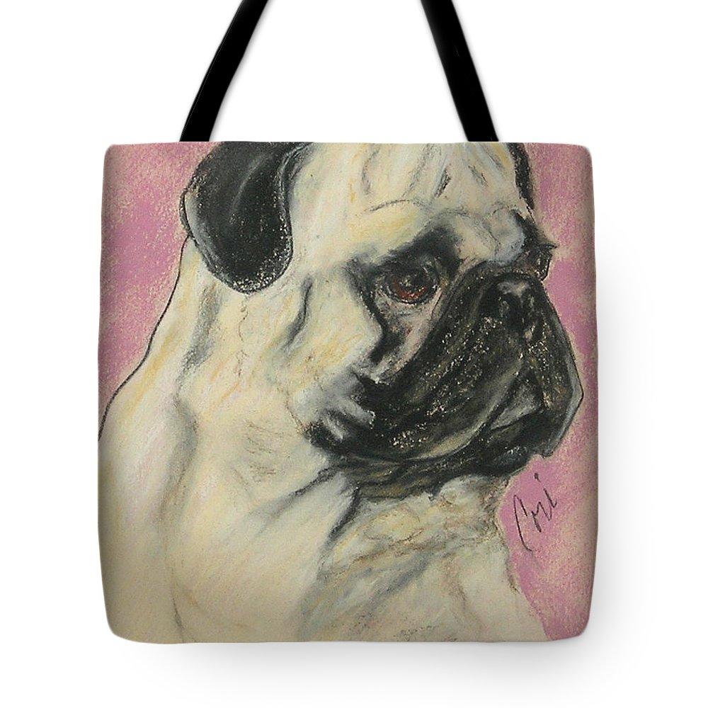 Pug Tote Bag featuring the drawing Pugnacious by Cori Solomon