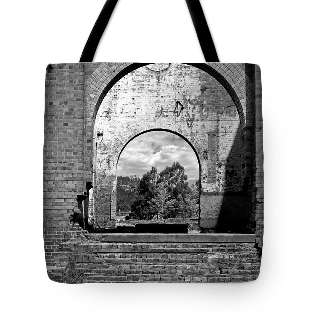 Blast Tote Bag featuring the photograph Pump House Western View by Nicholas Blackwell