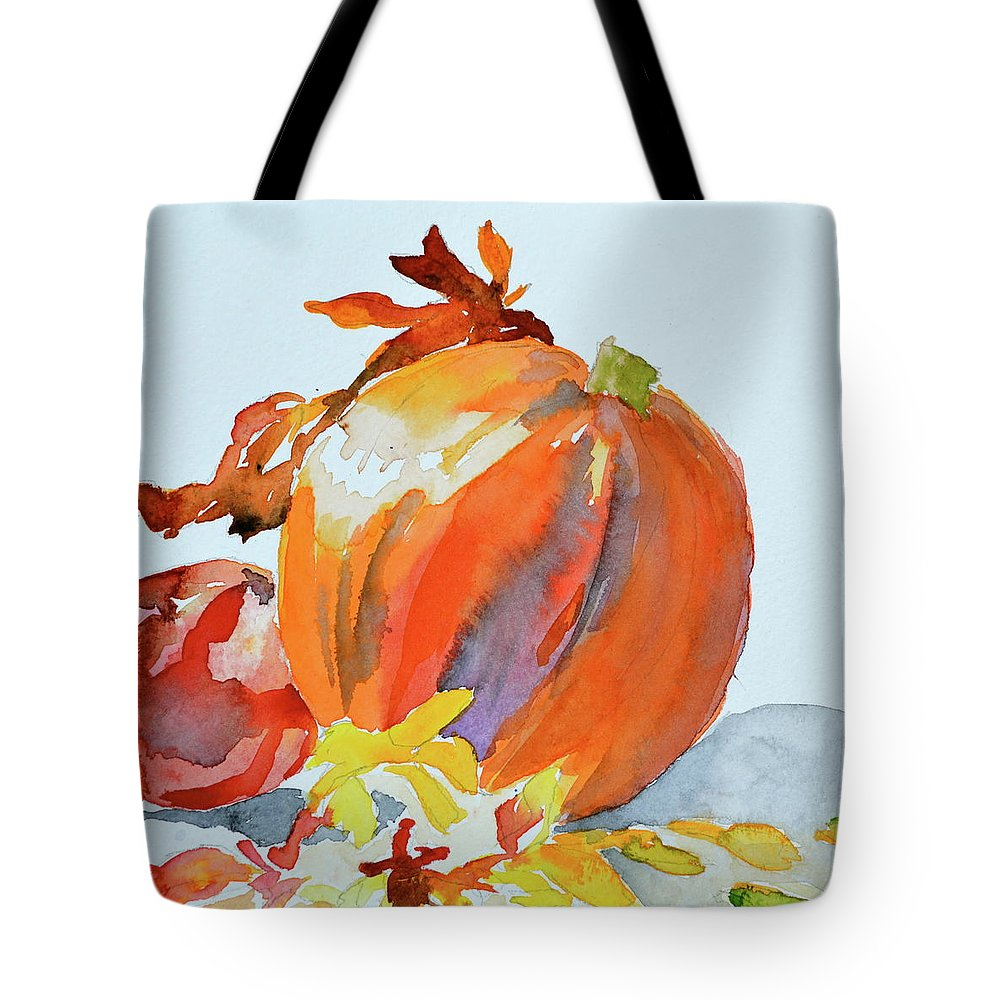 Pumpkin And Pomegranate Tote Bag featuring the painting Pumpkin And Pomegranate by Beverley Harper Tinsley