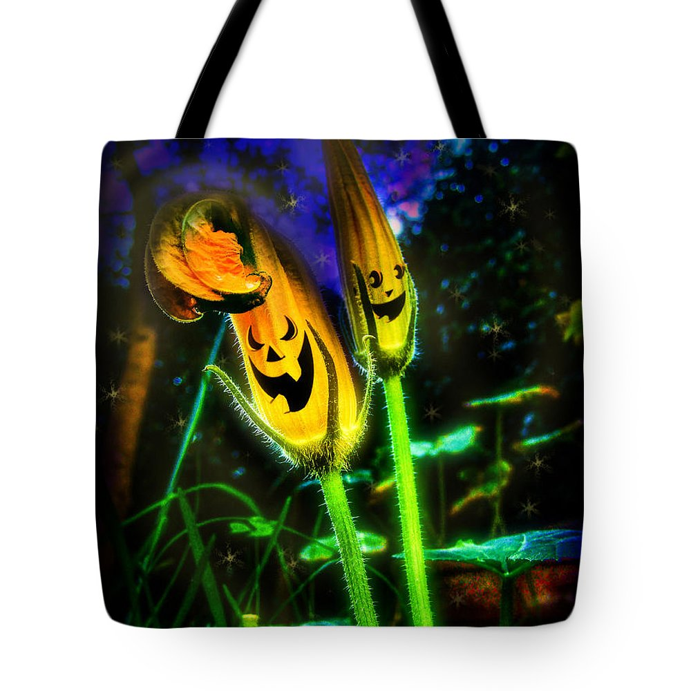 Pumpkin Tote Bag featuring the digital art Pumpkin Flowers by Alessandro Della Pietra