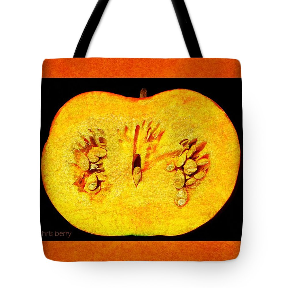Halloween Tote Bag featuring the photograph Pumpkin Half by Chris Berry