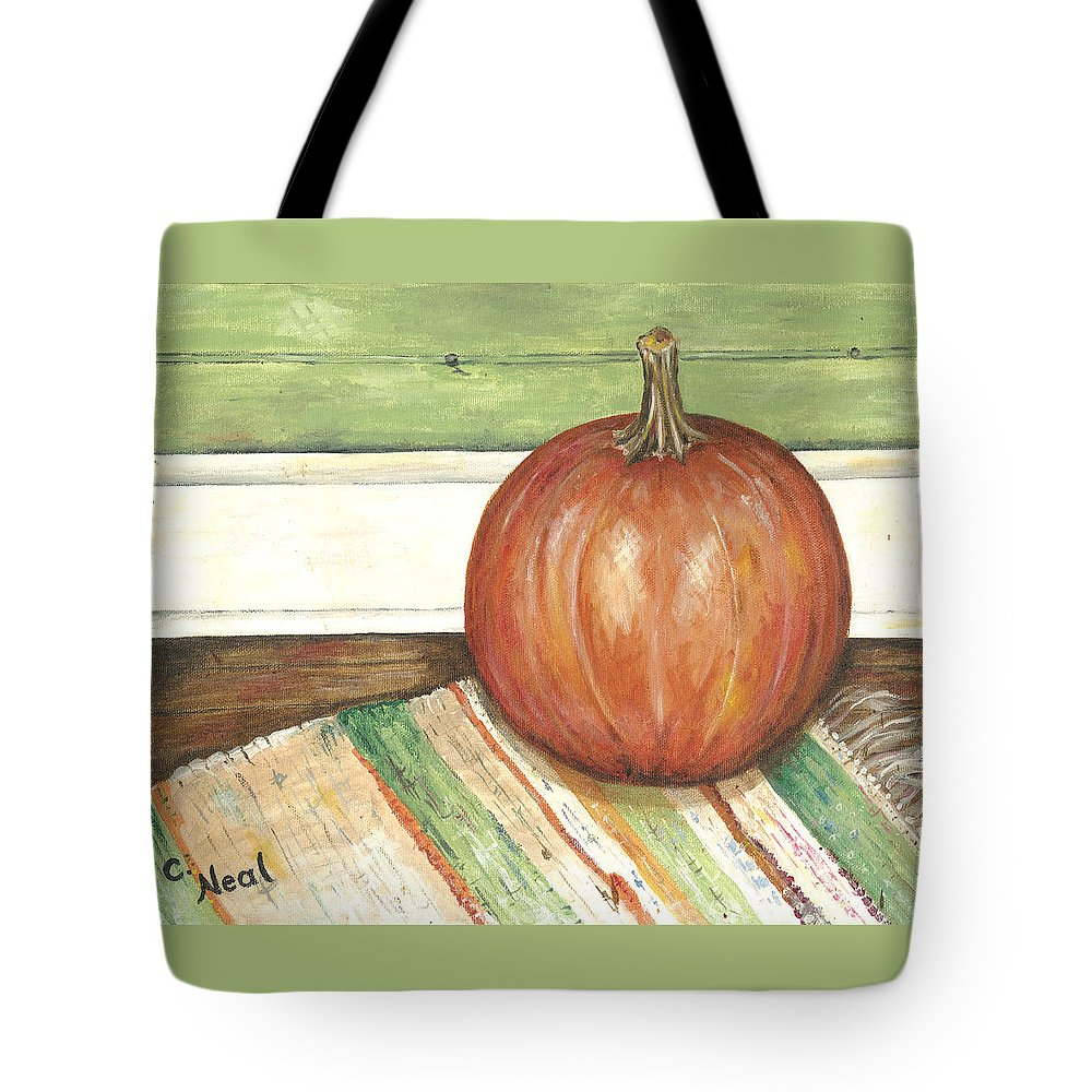 Pumpkin Tote Bag featuring the painting Pumpkin On A Rag Rug by Carol Neal