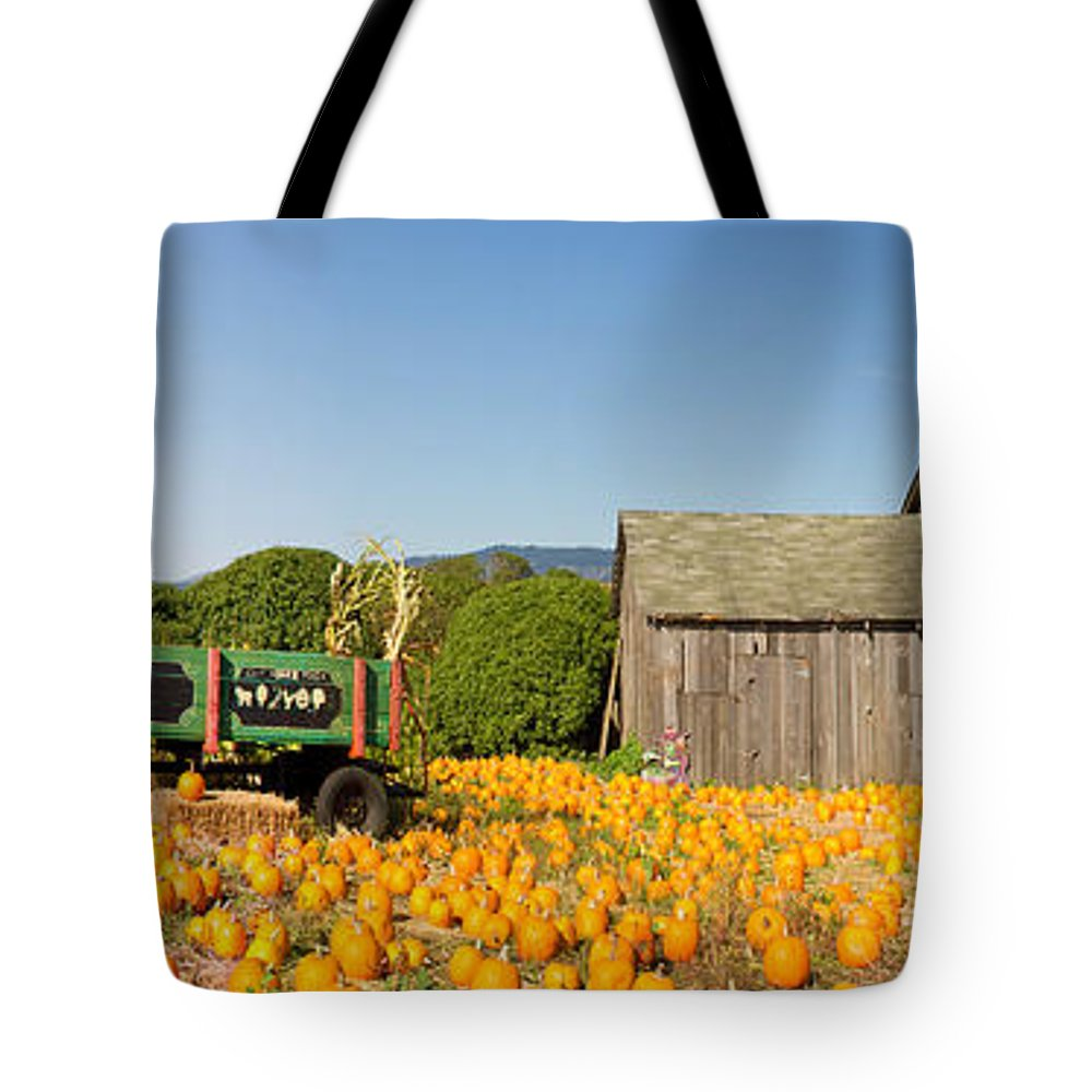 Pumpkin Tote Bag featuring the photograph Pumpkin Patch Farm House With Halloween Decoration by Jit Lim