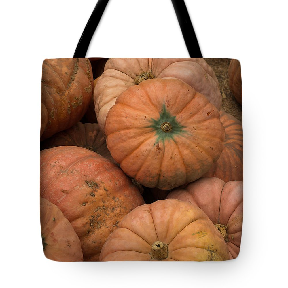 Pumpkins Tote Bag featuring the photograph Pumpkins by Suzanne Luft