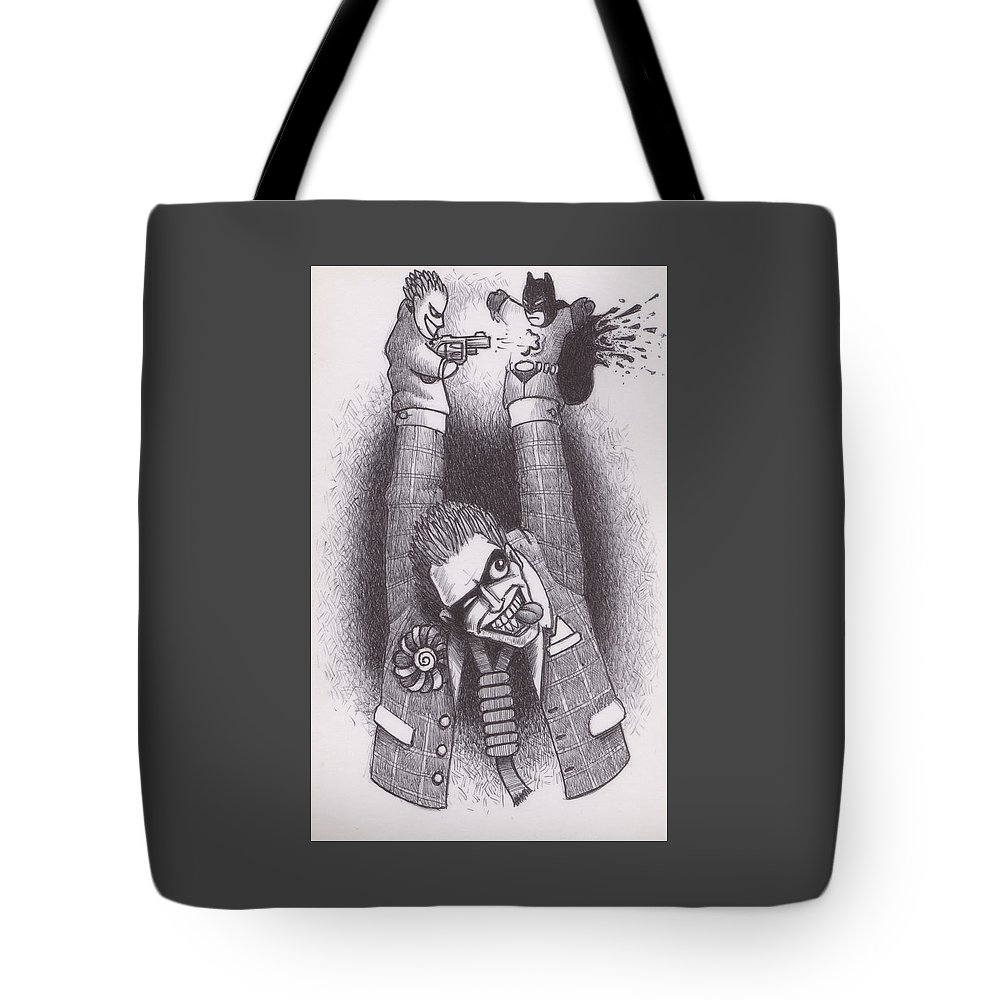 Joker Tote Bag featuring the drawing Punch And Judy by Hermit