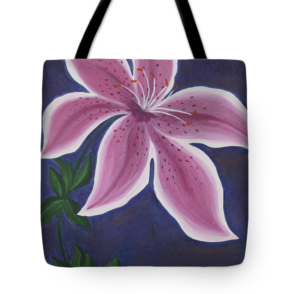 Flower Tote Bag featuring the painting Punctilious Pink Daylily by Deborah Schuster