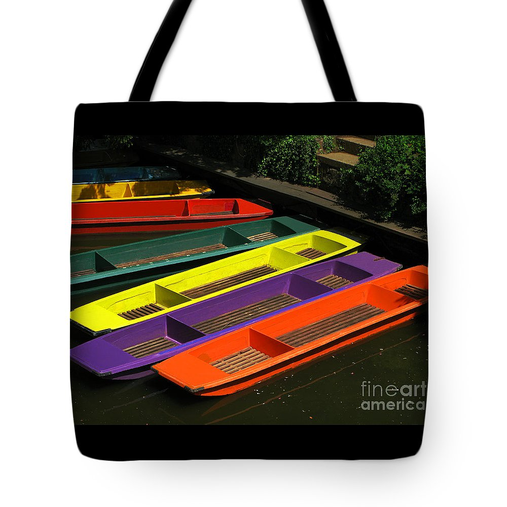 Punts Tote Bag featuring the photograph Punts For Hire by Ann Horn