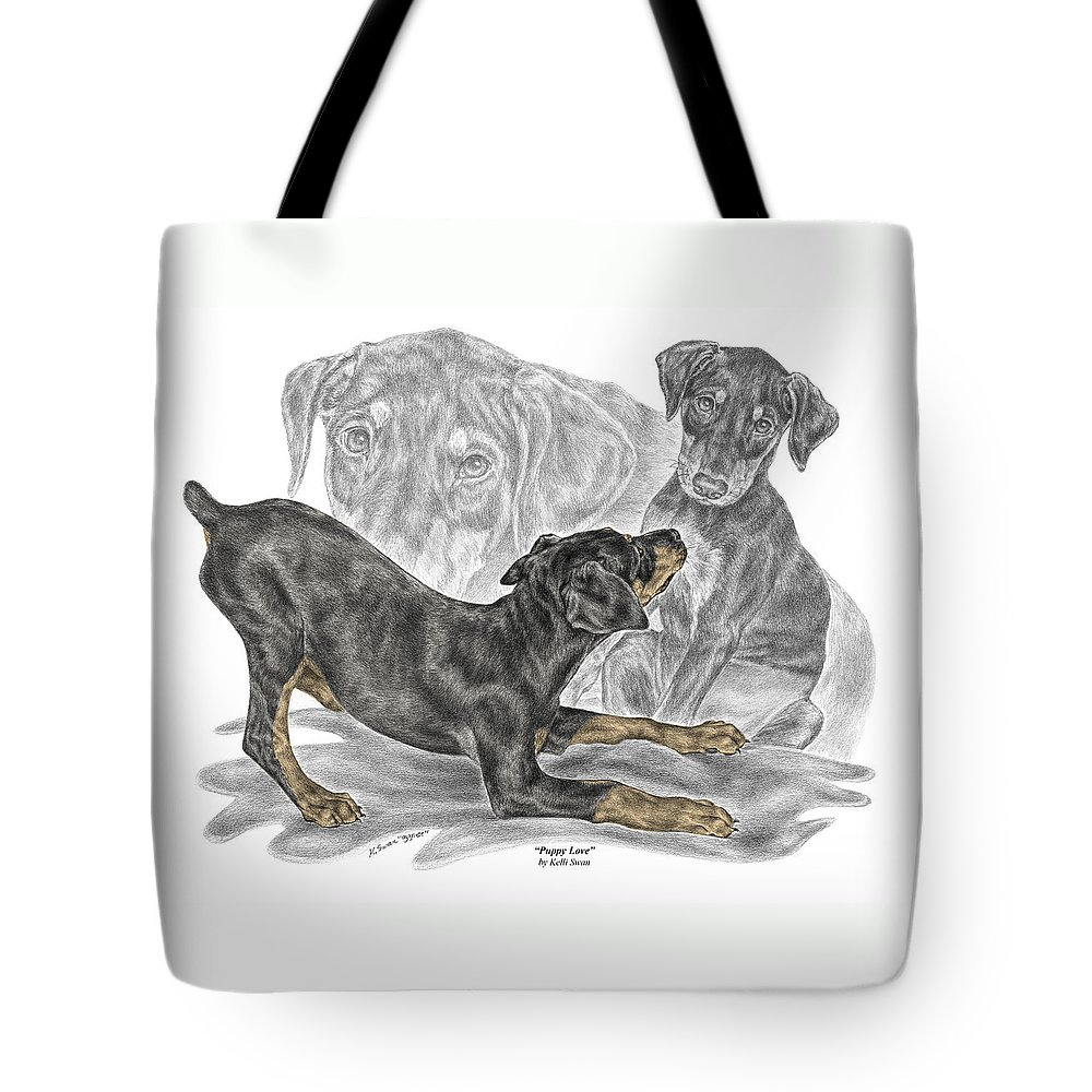 Black And Tan Doberman Tote Bag featuring the drawing Puppy Love - Doberman Pinscher Pup - Color Tinted by Kelli Swan