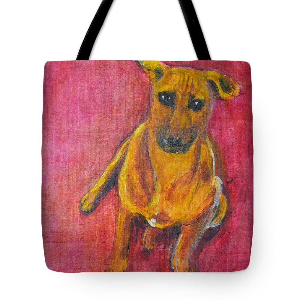 Puppy Tote Bag featuring the painting Puppy Love by Usha Shantharam