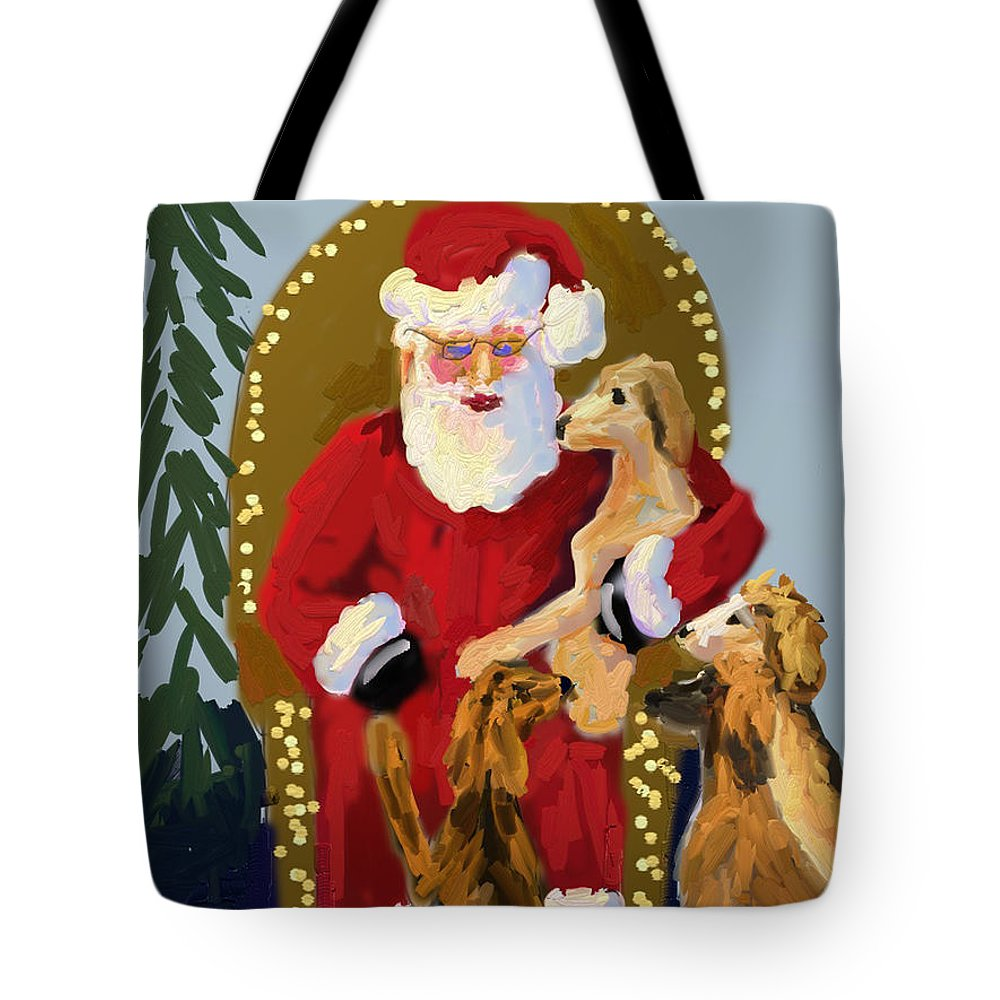 Christmas Tote Bag featuring the painting Puppy Talk by Terry Chacon