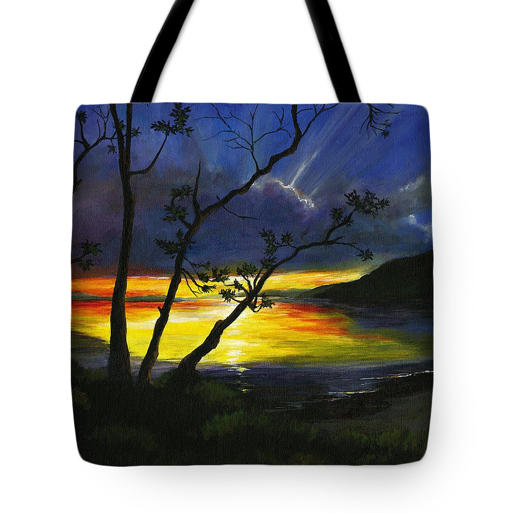 Sunset Tote Bag featuring the painting Purdy Sunset by Carlene Salazar