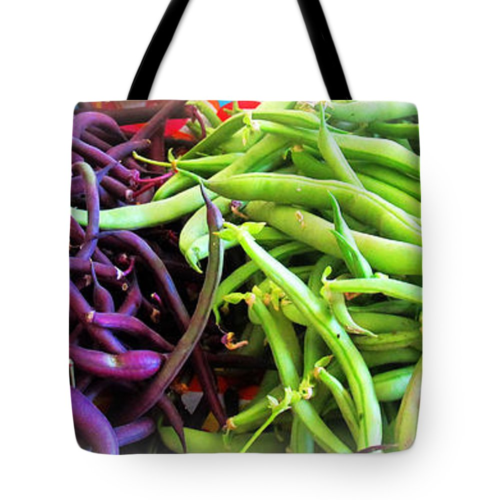 Beans Tote Bag featuring the photograph Purple And Green String Beans by Tina M Wenger