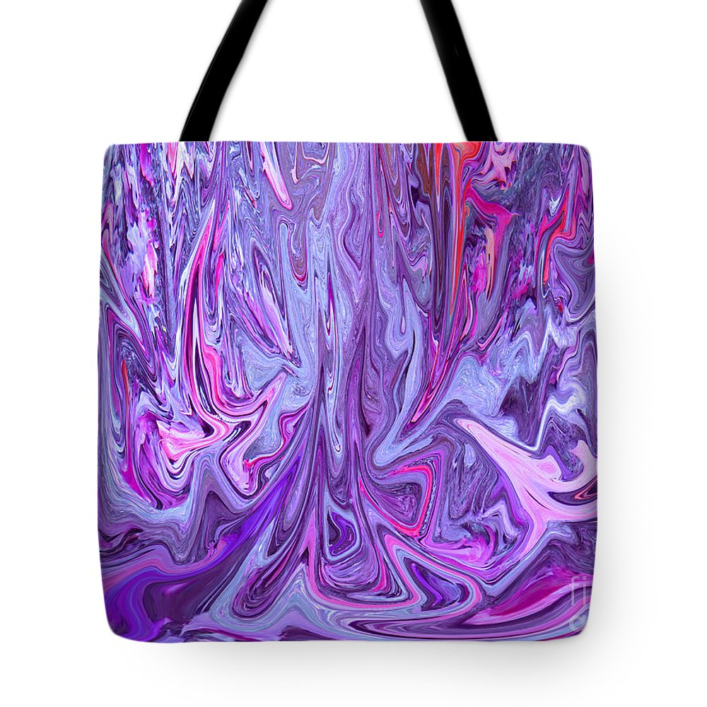 Abstract Tote Bag featuring the digital art Purple And Pink Abstract by Minding My Visions by Adri and Ray