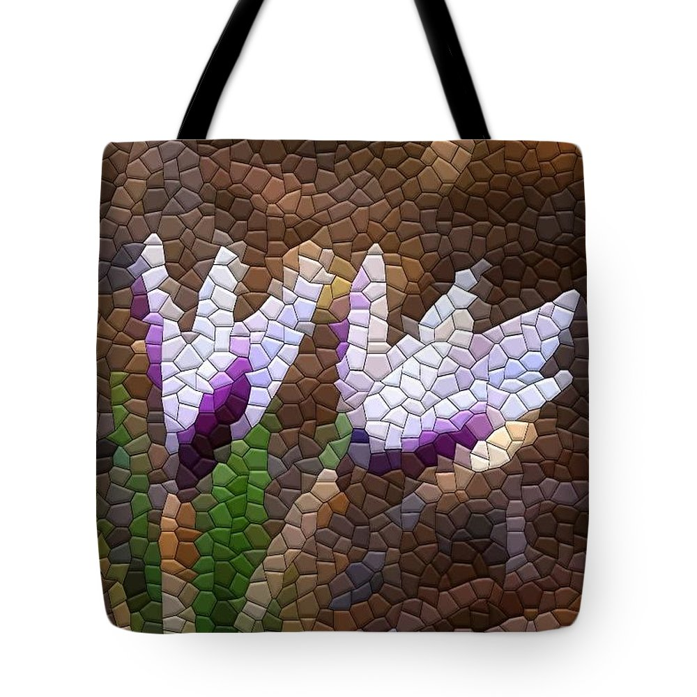 Mosaic Tote Bag featuring the photograph Purple And White Crocus by Kathryn Meyer