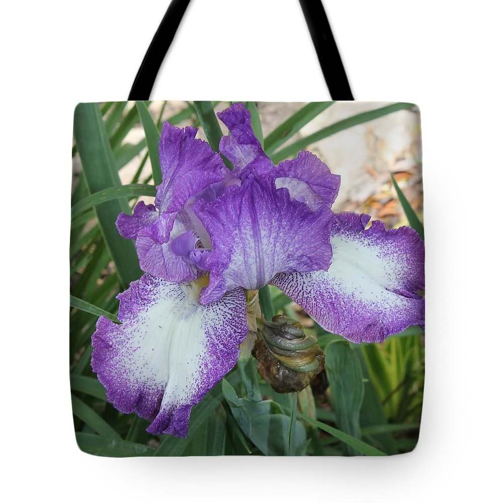 Iris Tote Bag featuring the photograph Purple And White Iris by Mary Koval