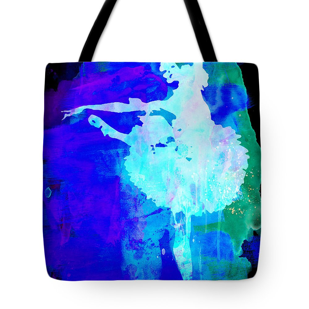 Tote Bag featuring the painting Purple Ballerina Watercolor by Naxart Studio