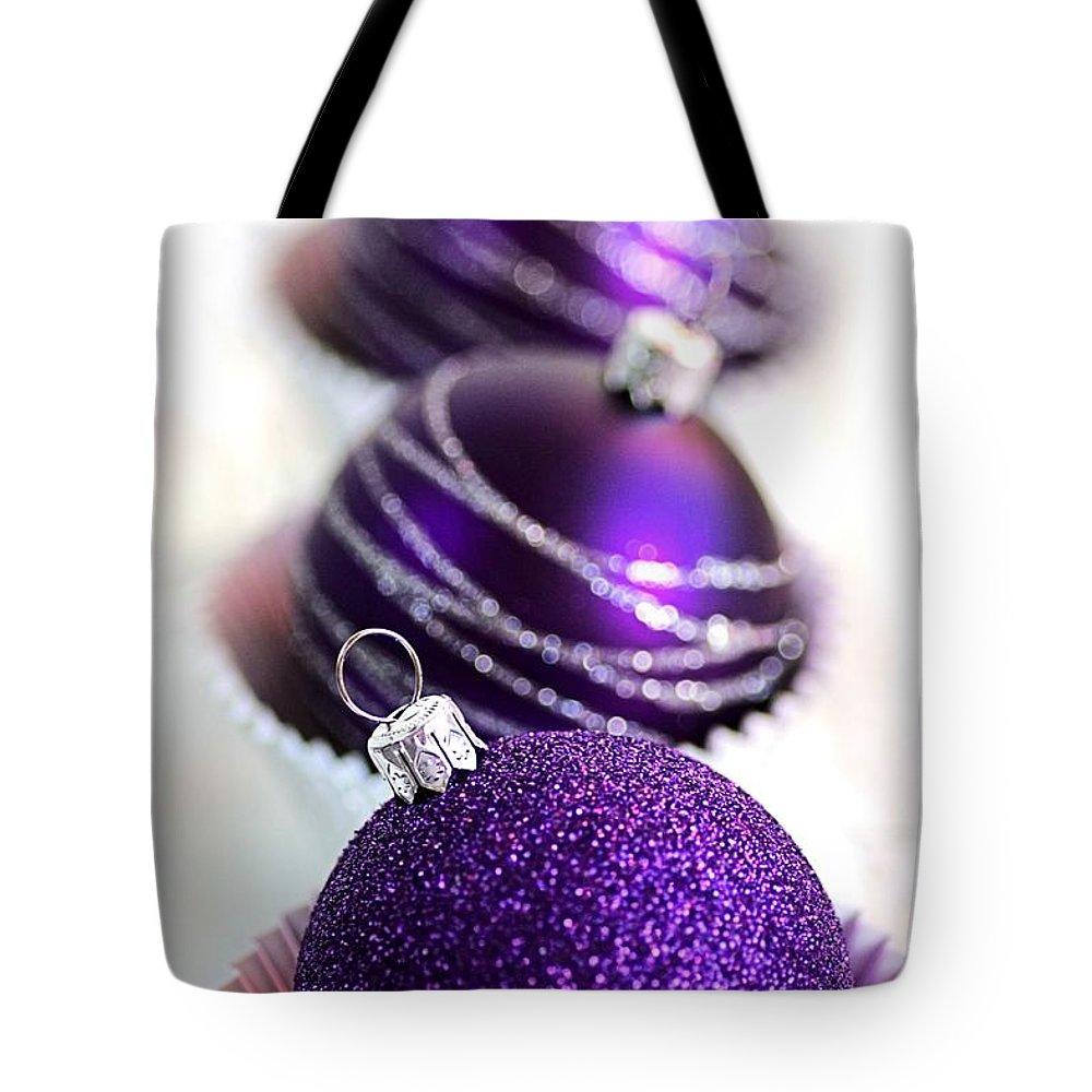Purple Baubles Tote Bag featuring the photograph Purple Baubles by Joy Watson