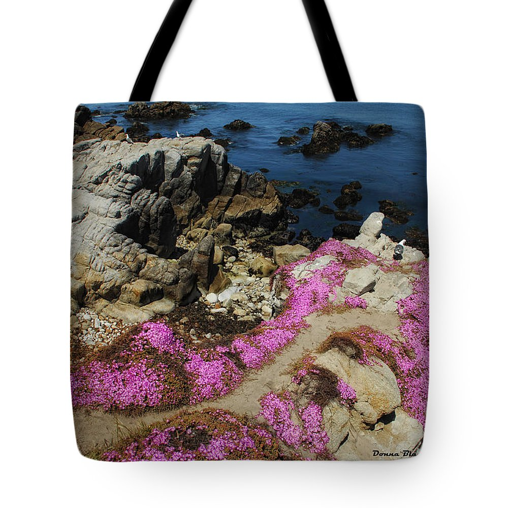 Purple Carpet Tote Bag featuring the photograph Purple Carpet And The Gulls by Donna Blackhall