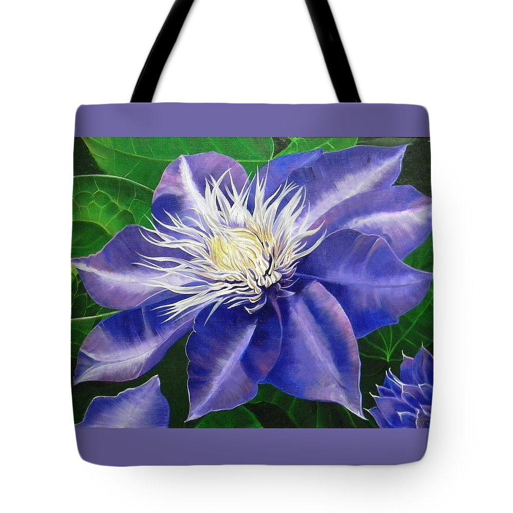 Purple Tote Bag featuring the painting Purple Clematis by Laura Wilson