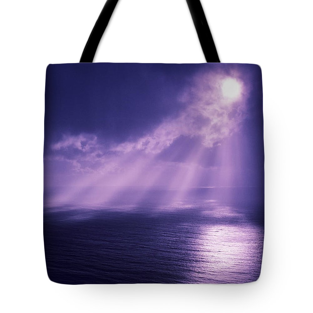 Blue Tote Bag featuring the photograph Purple Cloudburst by Larry Dale Gordon - Printscapes