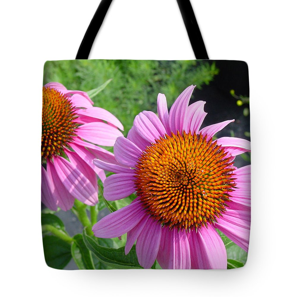 Flower Tote Bag featuring the photograph Purple Coneflowers by Suzanne Gaff