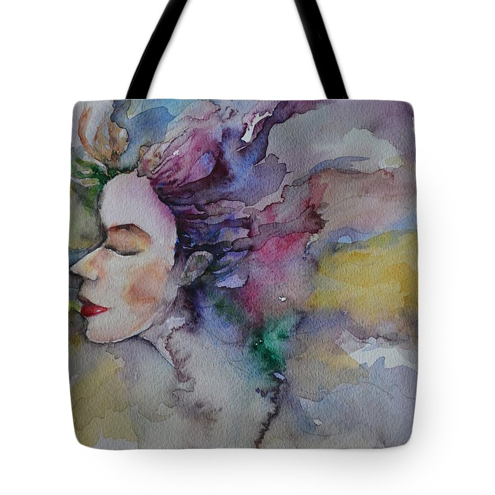 Girl Tote Bag featuring the painting Purple Dream by Mikyong Rodgers