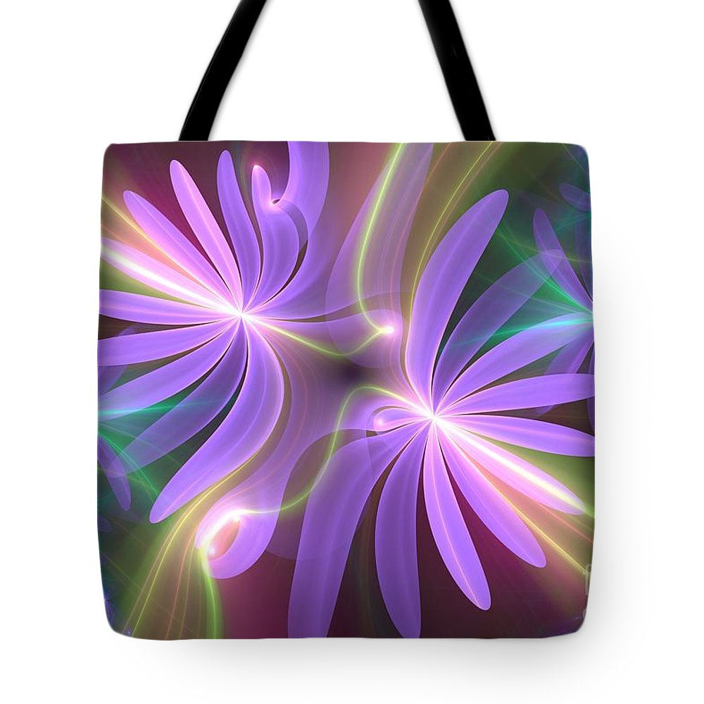 Flower Tote Bag featuring the digital art Purple Dream by Svetlana Nikolova