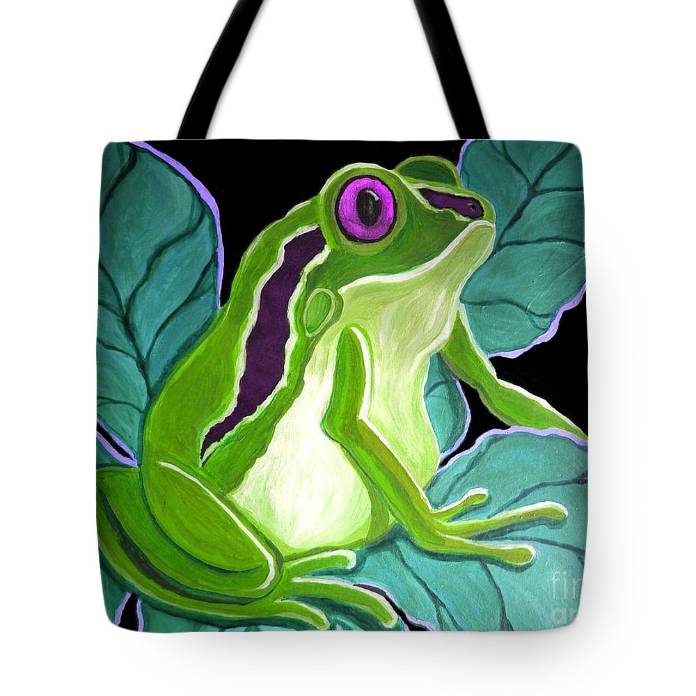 Frog Tote Bag featuring the painting Purple Eyed Frog by Nick Gustafson