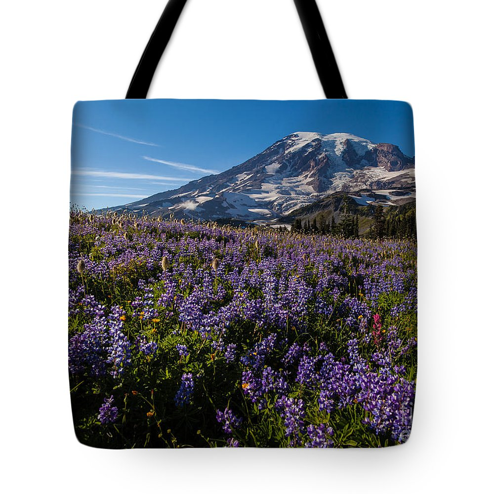 Rainier Tote Bag featuring the photograph Purple Fields Forever And Ever by Mike Reid